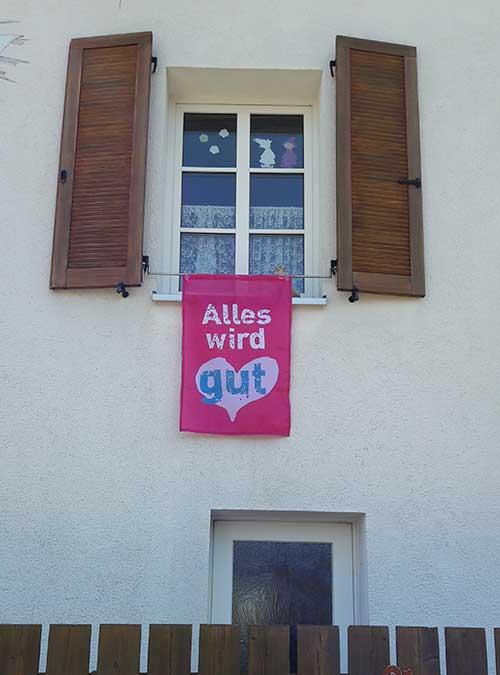 Fahne Motiv 01 pink im Einsatz