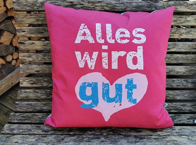 Kissen Motiv Trost-Kissen pink - Kollektion Alles Wird Gut!