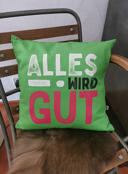Kissen Motiv Trost-Kissen grün - Kollektion Alles Wird Gut!